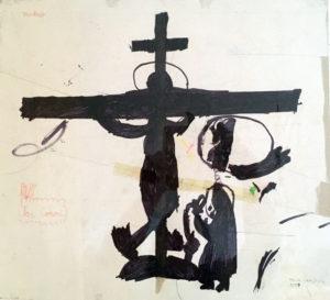 Eine Kinderzeichnung von Kiki: Jesus ist ans Kreuz genagelt. Zu seinen Füßen sitzt Maria, weint und denkt in einer Sprechblase an die Zeit als Jesus als Baby noch sicher in ihren Armen lag