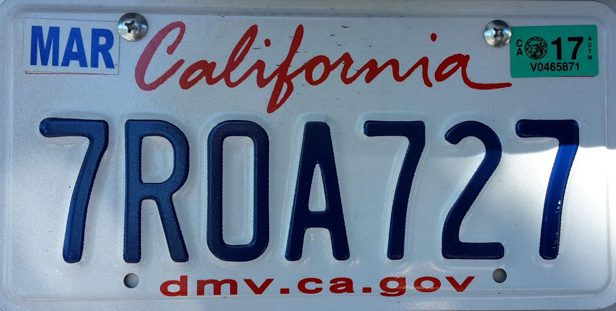 Kalifornisches Autokennzeichen